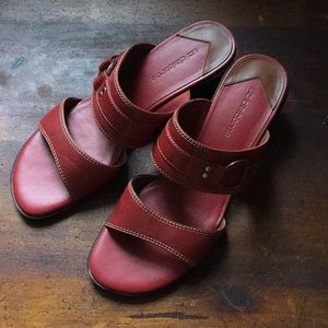 Red sandal heeled shoes